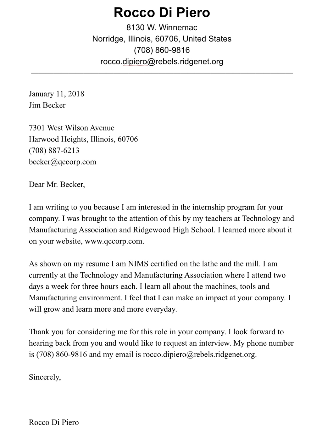cover letter  resume  and references